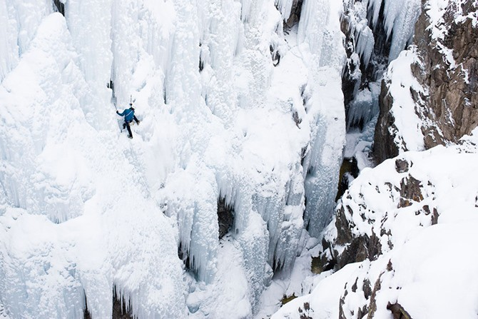 Aaron Prochaska ice climbing in Ouray, CO
