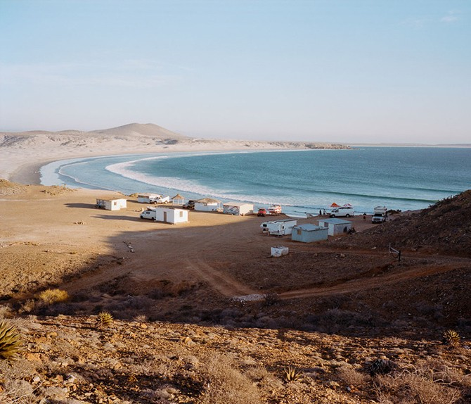 Surfers campground in Baja, Mexico